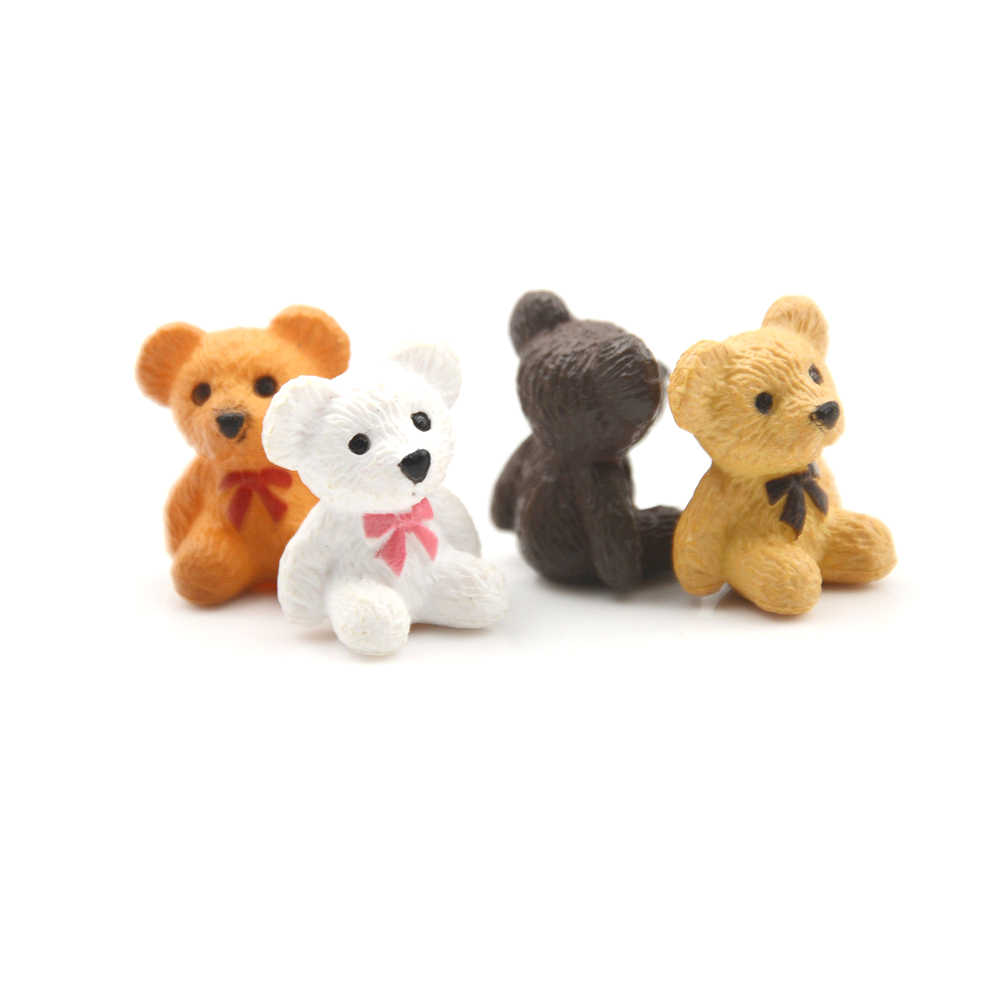 4pcs/Lot 1/12 Dollhouse Miniature Accessories Mini Bear Simulation Miniature Animal Toy Furniture for Doll Home Decoration