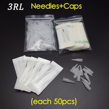 3R (Needles + Tips hver 50pcs) Profesjonell Permanent Makeup Machine Nåler Caps For Øyenbryn Lips
