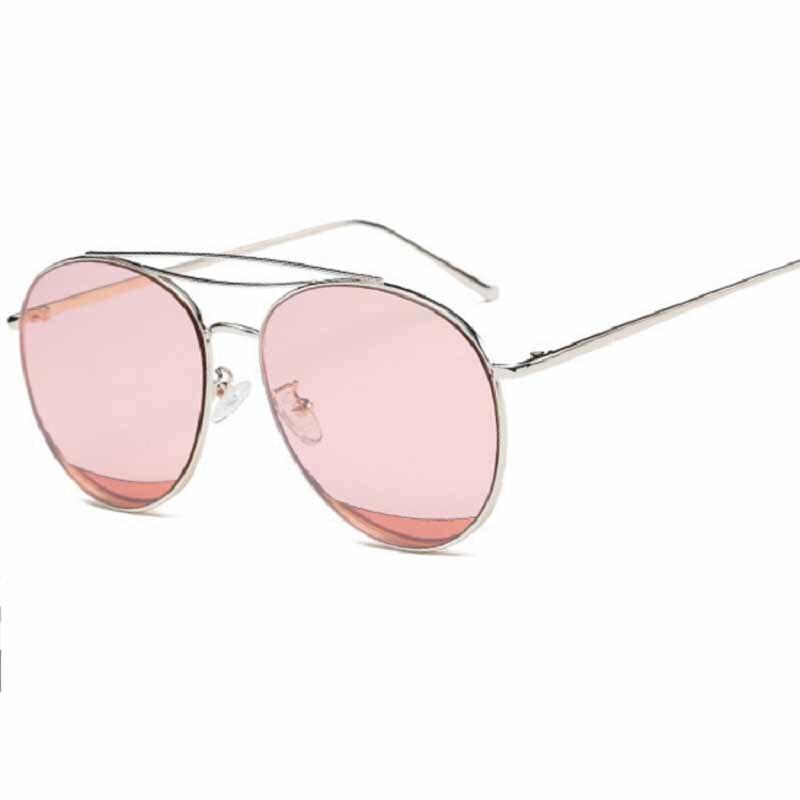 08bff794e03f0 Novos Óculos de Sol Das Mulheres Designer de Marca De Metal Da Marca Óculos  De Sol Anti-Reflexo Gêmeo-Feixe de Lentes Da Lente do Espelho para o Sexo  ...