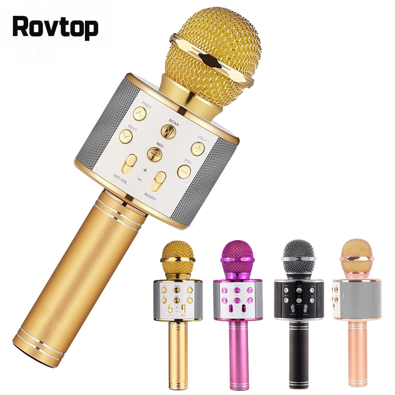 Professional Bluetooth Wireless Microphone Speaker Handheld Microphone Karaoke Mic Music Player Singing Recorder KTV 1800Mah(China)
