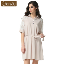 Qianxiu Modal Sleepshirts Sexy Lace Turn Down Collar Nightskirt for women Half Sleeve summer Nightgown 1638