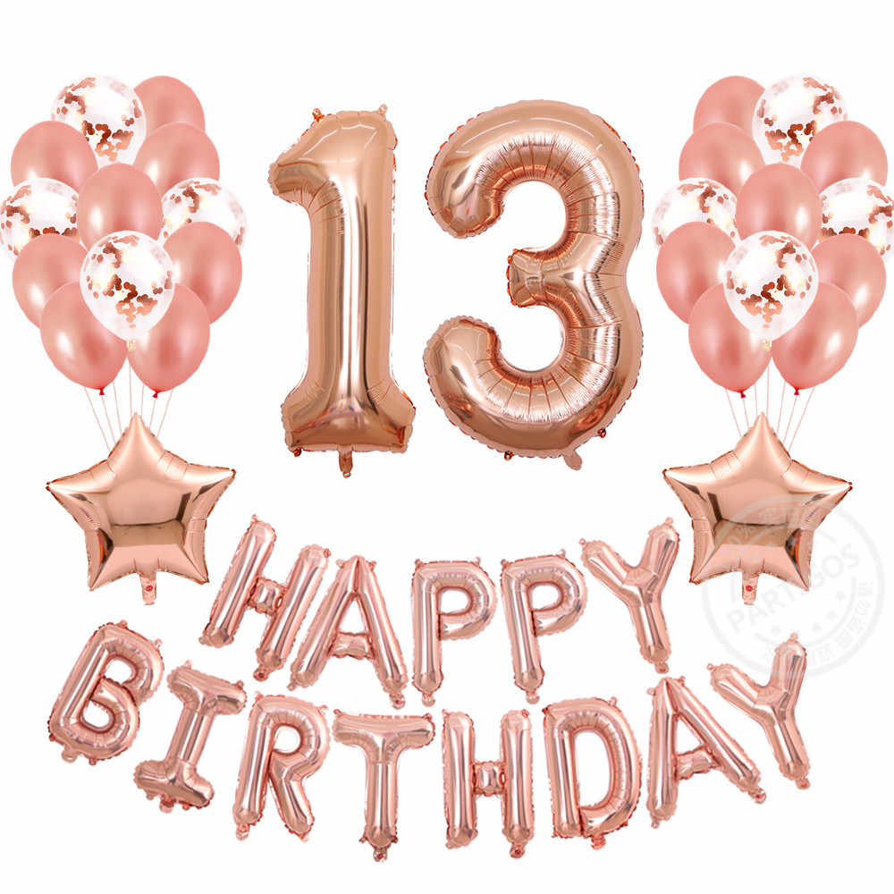 41pcs Lot 13th Birthday Decorations Balloons Rose Gold Banner Table Confetti