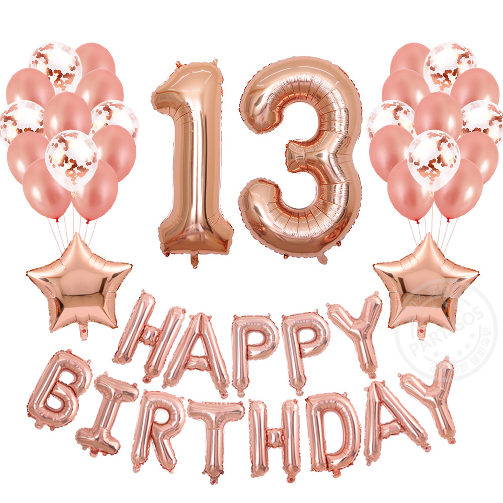 41pcs Lot 13th Birthday Decorations Balloons Rose Gold Banner Table Confetti Decor Props For Photos