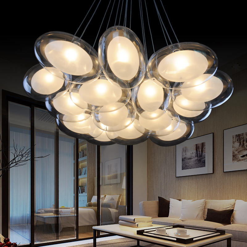 Modern Creative goose eggs glass ball LED chandelier Personalized the bedroom romantic restaurant hanging lamp bar indoor lights