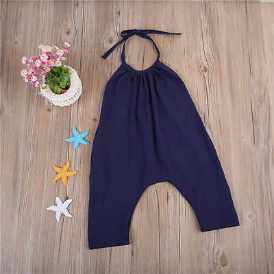 Girls' Baby Clothing 2017 New Backless Halter Baby Girls Strap Cotton Sleeveless Romper Jumpsuit Harem Pants Trousers Clothes Bodysuits & One-pieces