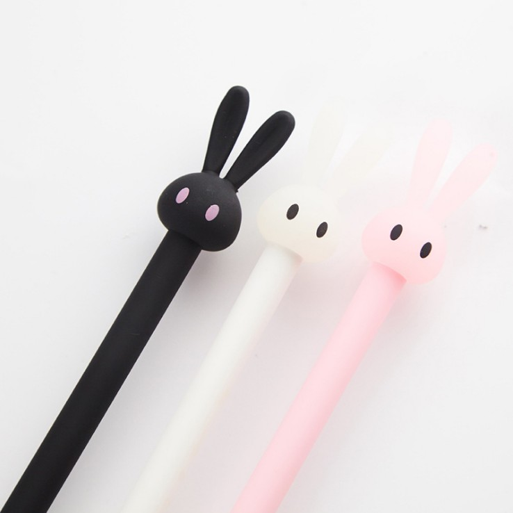 1 Pcs Korean Cute Kawaii Retractable Gel Roller Ball Pen with 0.38mm Black Ink Rabbit Pen Writing School Supply Stationery pilot dr grip pure white retractable ball point pen