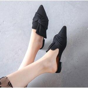 Image 5 - Women Sandals Summer Female Flat Shoes Flock Bowtie Slippers Ladies Fashion Low Heels Mules Elegant Blue Sandales Femme 2020