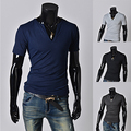 Free Shipping 2015 fashion short sleeve Mens T Shirts solid color V-neck Slim fit cusual Shirts men 5 color L-XXXL PD15