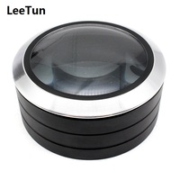 5X 90mm Desktop Magnifier Pink Black Cylindrical Magnifying Glass 3LED Light with K9 Optical Lens Top Loup for Reading