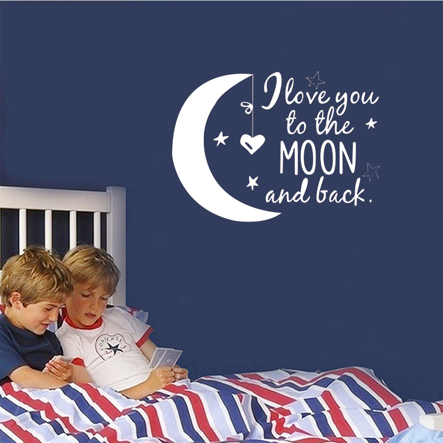 I Love You To The Moon Wall Decals Kids Love Quotes Moon Stars Wall