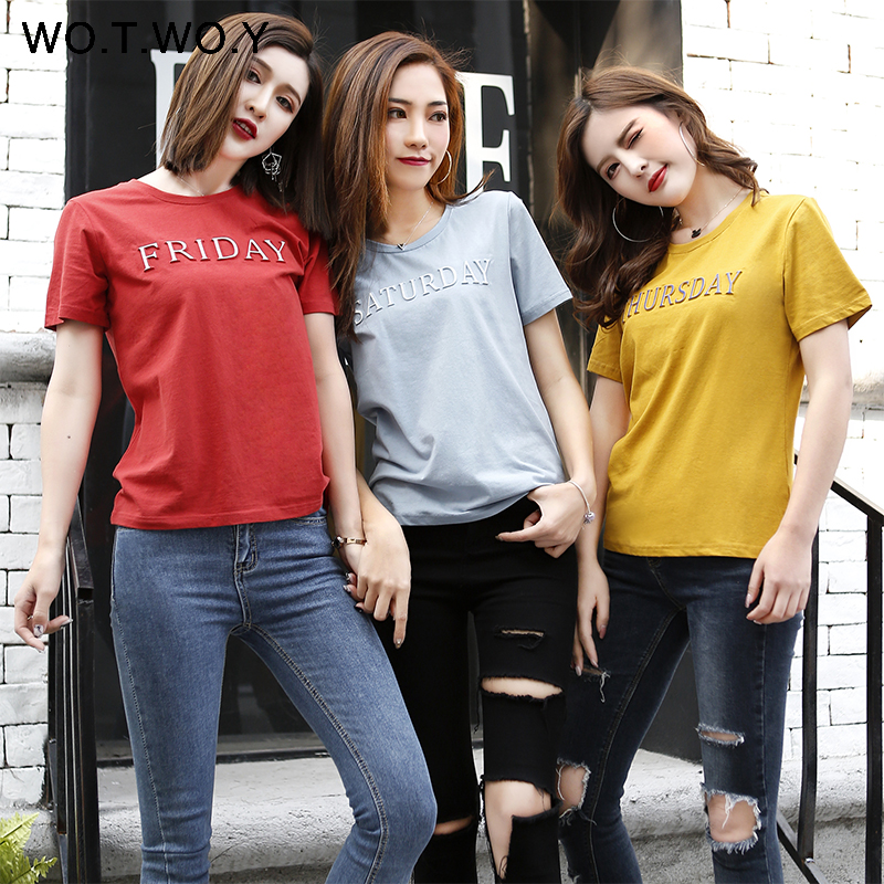GALAXY-DF-top Casual Cotton T Shirt Women Short Sleeve Summer Women Embossing Letter Print Tee Shirt Female Loose T Shirts