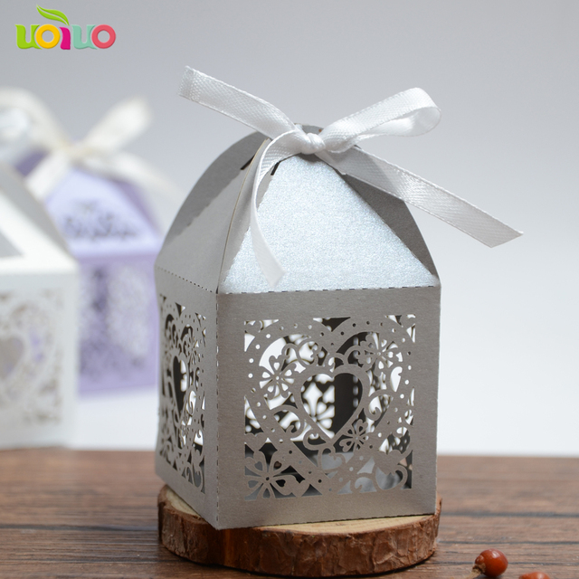 Por Silver Grey Customized Large Size Lace Heart Wedding Favor Candy Bo For Guests