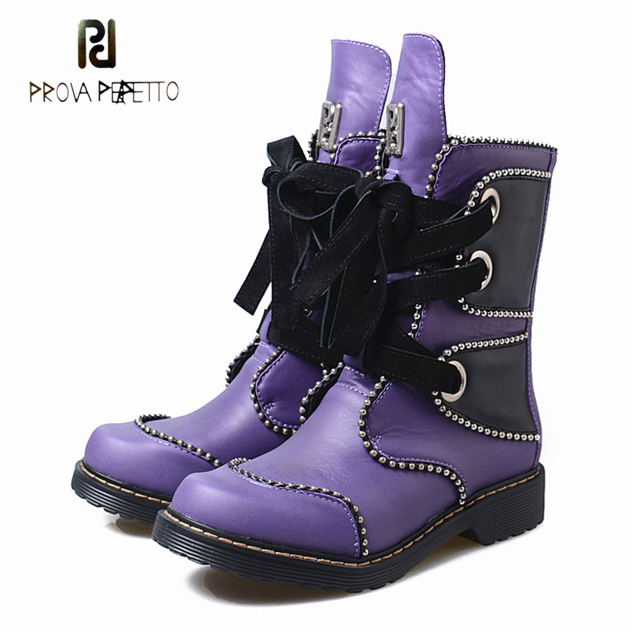 Prova Perfetto new style rivet beading low heel martin boots women lace up genuine leather patchwork women short boot for winter