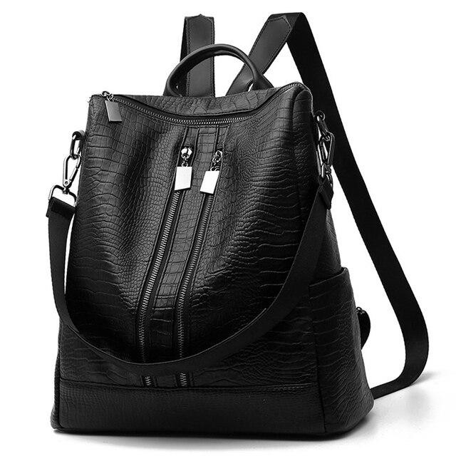 Women PU crocodile pattern backpack vintage black rucksack female travel casual student school bag Mochila Feminina Paket