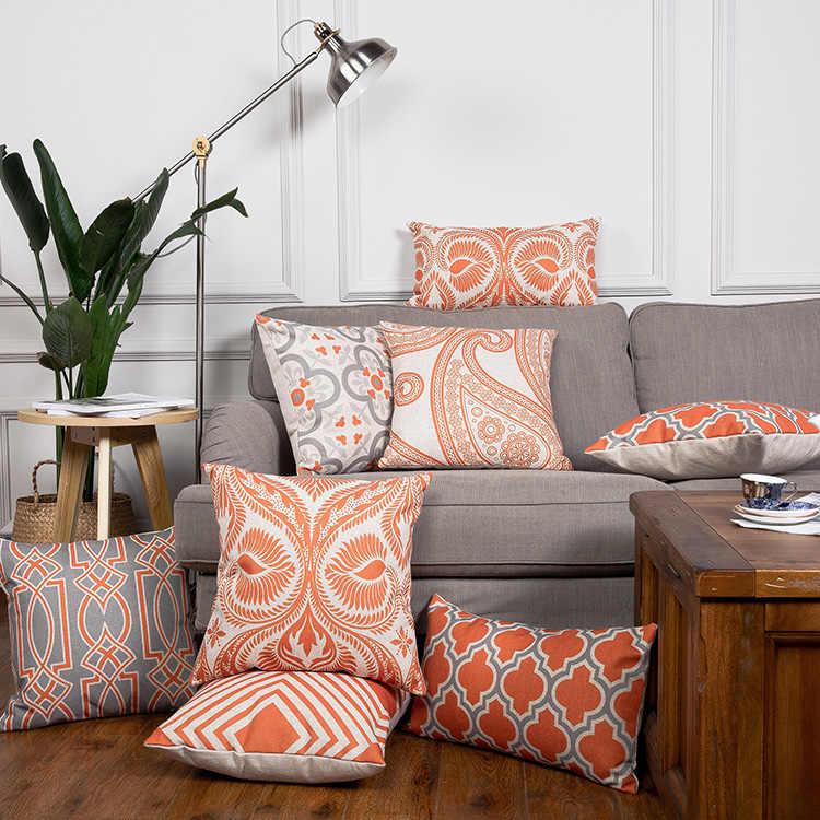 Orange Cushion Cover Home Decor Geometric Linen Decorative ...