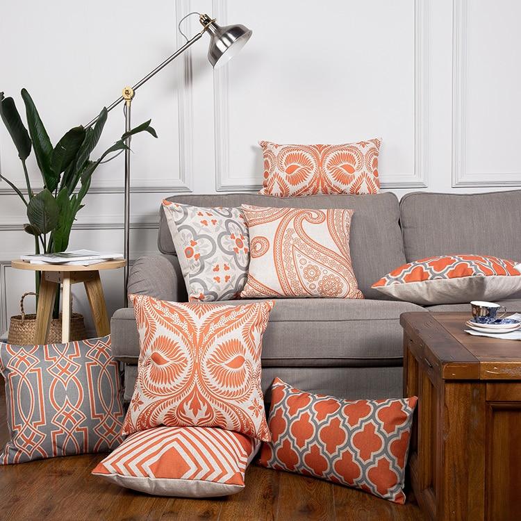 Orange Cushion Cover Home Decor Geometric Linen Decorative