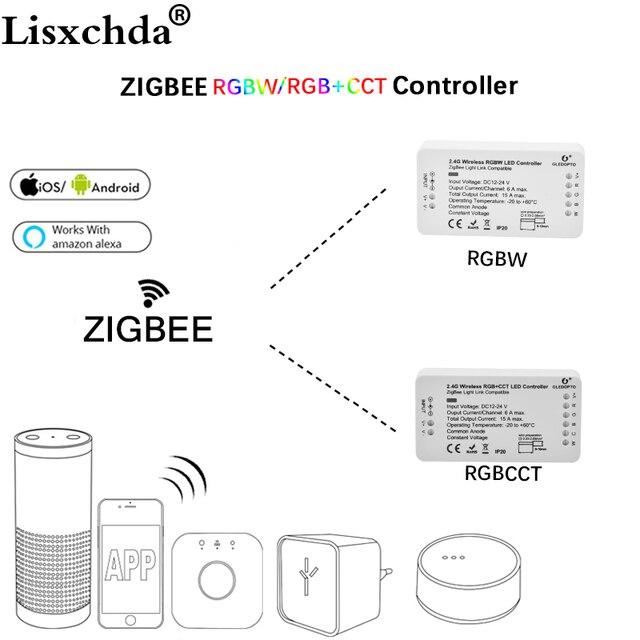 GLEDOPTO ZIGBEE ponte app Ha Condotto Il Regolatore RGBW dimmer Regolatore della striscia DC12/24 V comptible con LED echo zll standard LED