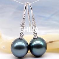 925 silver real natural big Freshwater Pearl Black Pearl Earrings Ear Hook black pearl earrings, pearl powder pressing fashion