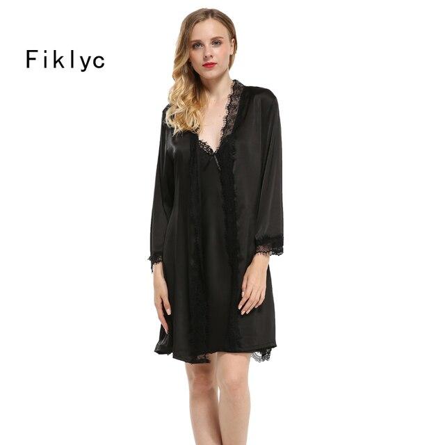 Fiklyc brand sexy lace silk robe & gown set free shipping two piece suspender sleepwear + bathing robe bridesmaid wedding wear