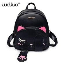 2017 милый кот рюкзак школьный Для женщин из искусственной кожи Рюкзаки для подростков Обувь для девочек Забавные Товары для кошек уши Сумки на плечо женские Mochila XA531B