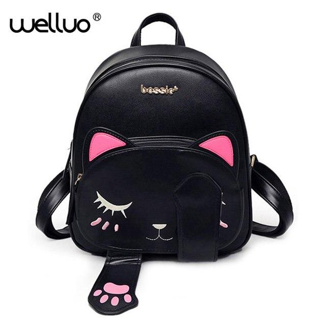 2017 nette Katze Rucksack Schule Frauen Pu-leder Rucksäcke für Teenager Mädchen Lustige Katzen Ohren Umhängetaschen Weibliche Mochila XA531B
