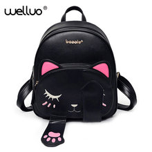 Cute Cat Backpack School Women Pu Leather Backpacks for Teenage Girls Funny Cats Ears Canvas Shoulder Bags Female Mochila XA531B