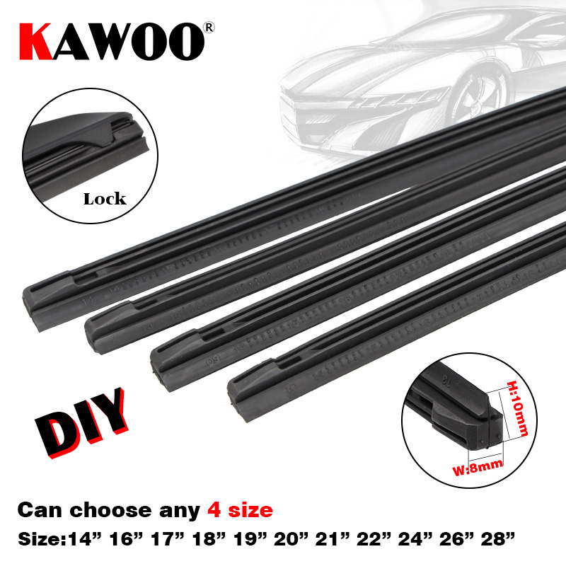 "KAWOO Auto Vehicle Insert Rubber Strip Car wiper Blade (Refill) 8mm 14""16""17""18""19""20""21""22""24""26""28"" 4pcs/lot Car Accessories"