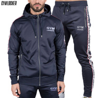 GYMLOCKER Brand Gyms Bodybuilding Sets Men's zipper pocket Hooded+pants Sportswear new Fashion casual Fitness mens Sets