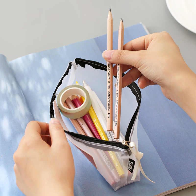 Przezroczysty piórnik Mesh piórnik dla dzieci dziewczyny prezent biuro szkolne Kawaii biurowe nylonowy zamek piórnik