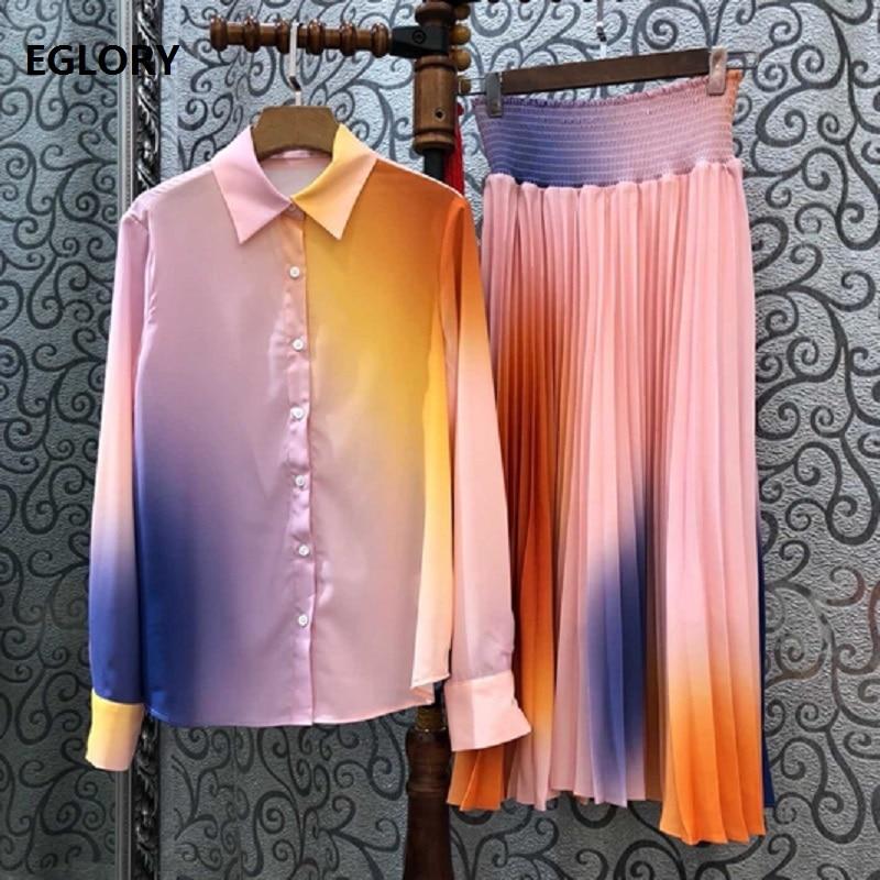 Top qualité Designer femmes et 2019 automne jupe costume dames col rabattu dégradé couleur imprimé à manches longues chemise jupe ensembles