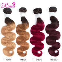 Ombre Honey Blonde Brown Wine Red Colored Hair Bundles Two Tone Black Roots Brazilian Body Wave Hair Weave 3 Bundle Deal Rcmei