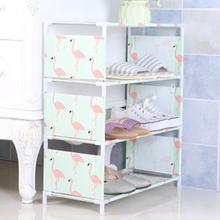 купить DIY 4 Layers Oxford Cloth Iron Pipe Hallway Cabinet Door Shoes Rack Flamingo Polar Bear Design Shoe Organizer Home Shoe Hanger дешево