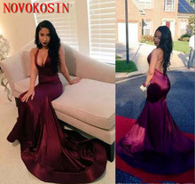 2019 Black Girl Backless Halter Satin Prom Dress With Deep V Neck Long Mermaid Formal Evening Gowns Count Train African Vestidos