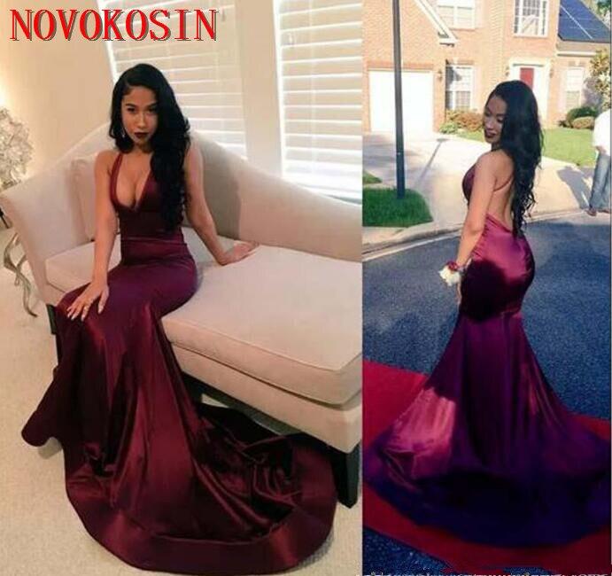 2019 noir fille dos nu licou Satin robe de bal avec col en V profond longue sirène formelle robes de soirée compte Train robes africaines