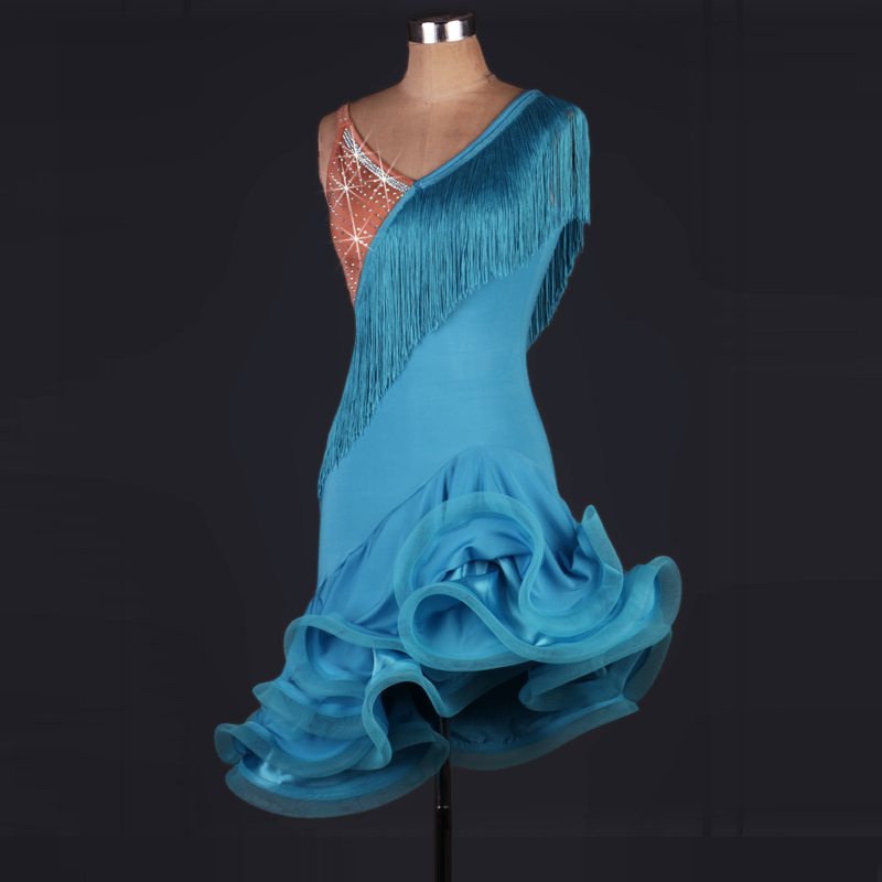 2017 the new gorgeous sexy latin dance dress women tassel latin dresses for girls kids latin dance competition costumes