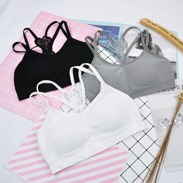 Teens Girls Sports Bra Puberty Gym Underwear Wireless with Chest Pad Cotton Young Girls Training Bra Teenager Girls Sport Bra