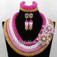 Wholesale African Crystal Bead Set New Nigerian Beaded Jewelry Fashion Design Free Shipping NCD168