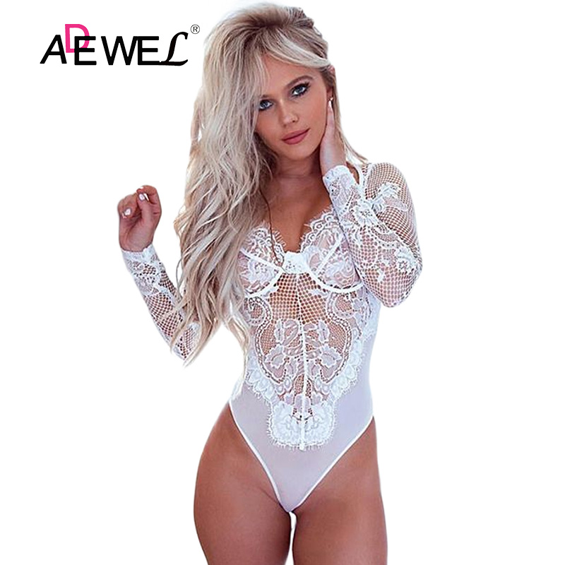 eeb2e2c57141 Buy sexy white lace long sleeve bodysuit and get free shipping on  AliExpress.com
