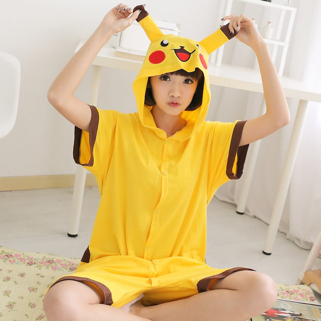 8512fbdafb Cute Adults Short Sleeve Pokeman Pajamas For Women Cosplay Costumes Summer  Cotton Pikachu Onesie Funny Animal Jumpsuit S M L XL