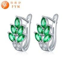 FYM 7 Colors Vintage Leaf Design Hoop Earrings Luxury Green Cubic Zirconia Crystal Sliver Plated Earrings for Girls Jewelry Gift