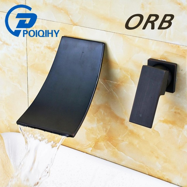 POIQIHY Wall Mounted Waterfall Basin Faucet Chrome/Black Bronze washbasin faucet crane Dual Holes Hot Cold Water Sink Mixer Tap 2