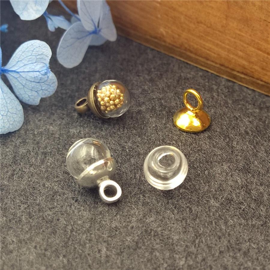 50 sets 6 2,2mm kugel glaskugel 6mm kappen-set glasfläschchen anhänger hand  made schmuck zubehör halskette anhänger blase flasche da140a3af5