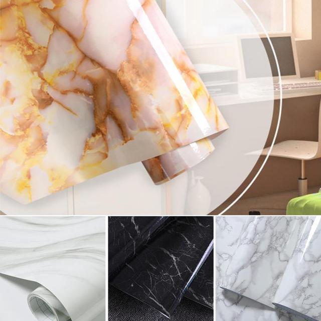 Glänzend Marmor Diy Vinyl Dekorative Film Küchenschrank