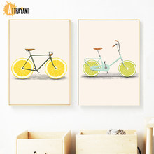 Abstract Cartoon Orange Yellow Bike Wall Art Canvas Painting Nordic Posters And Prints Wall Pictures For Living Room Home Decor(China)