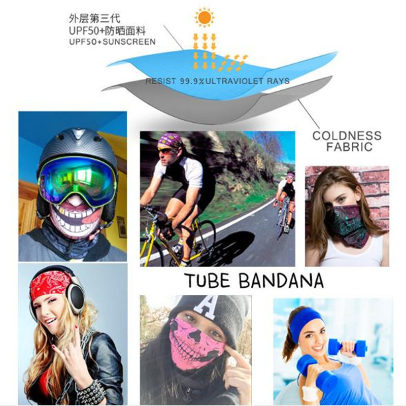 Biker Bandanas 5 pcs lot AC388 AC404 Outdoor Hat Cycling Turban Head Scarf Sports Face Mask in Cycling Caps from Sports Entertainment