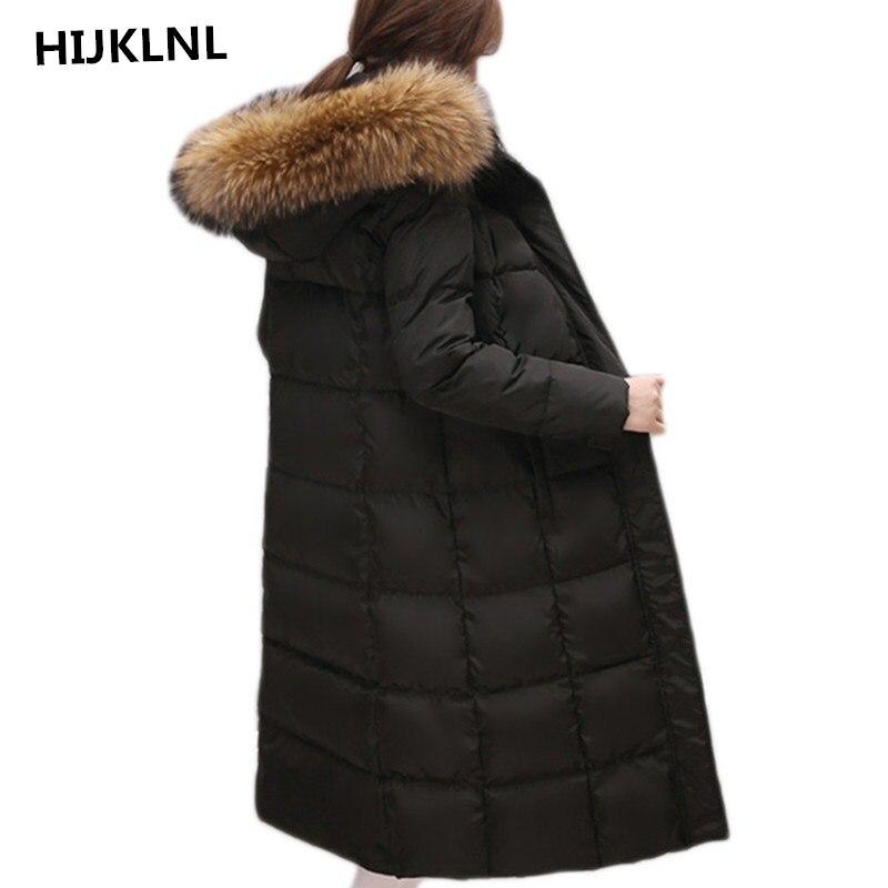 -30 درجة أسفل معطف 2019 جديد الشتاء سترة المرأة مقطع طويل كبير الفراء مقنعين بطة السترات والمعاطف النسائية سميكة ستر LH435