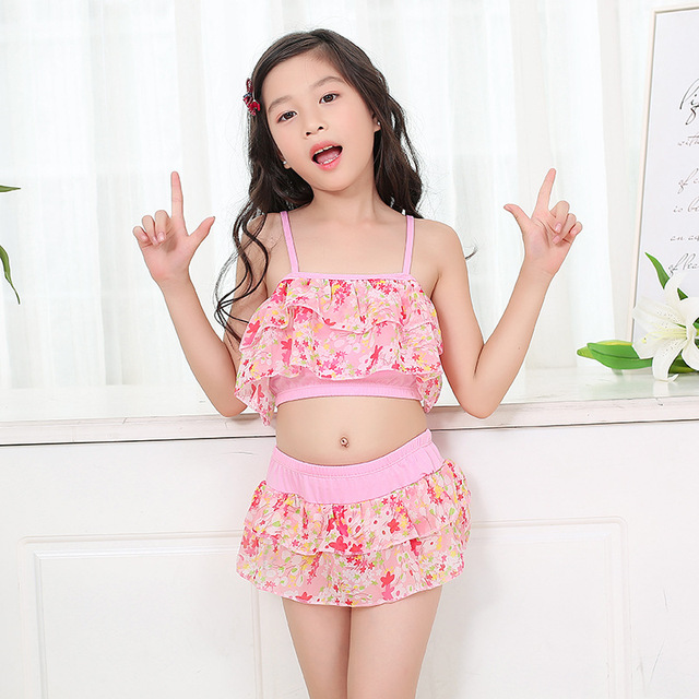 9c899a5b1 NEW floral pretty Swimsuit New Summer Girls Bikini Girls Beautiful Bikini  Children's Swimwear Children Split Two