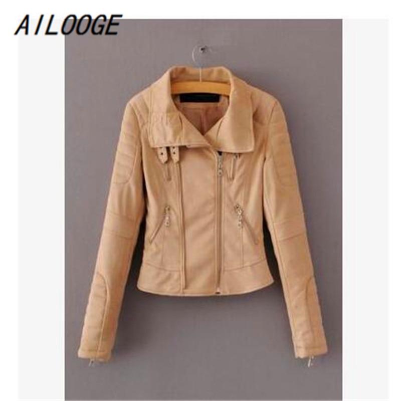 AILOOGE Faux Leather Suede Outerwear & Coats Short Slim   Basic     Jackets   Female   Jacket   Coat Women Winter 2017 Autumn Streetwear