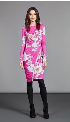 Frauen neue mode rosa druck stricken dünnes kleid langen ärmeln-in Kleider aus Damenbekleidung bei  Gruppe 2