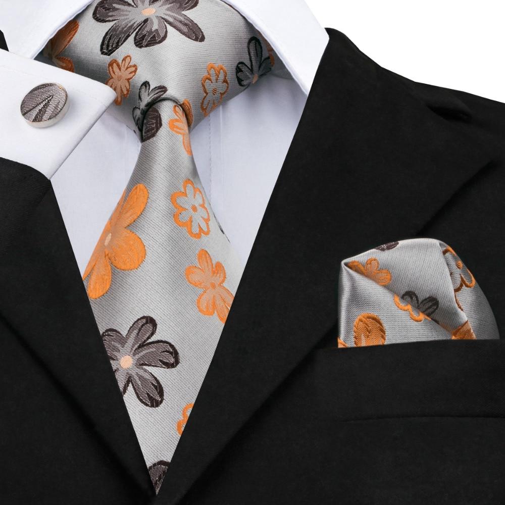 New Fashion Gray Orange Brown Floral Tie Hanky Cufflinks 100% Silk Necktie Ties For Men Formal Business Wedding Party C-1016